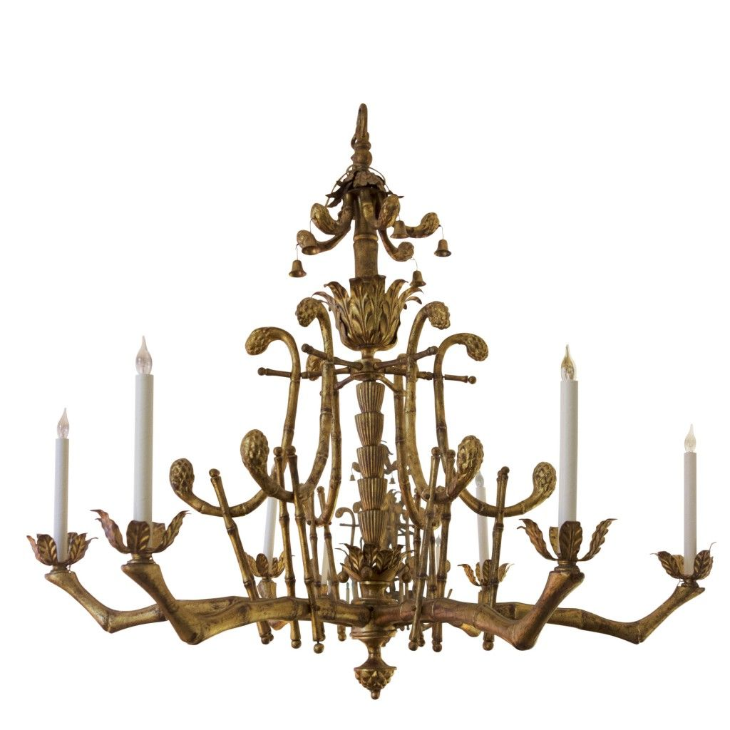 Gilded 1940s to 1950s faux bamboo chandelier krb lighting gilded 1940s to 1950s faux bamboo chandelier krb arubaitofo Images