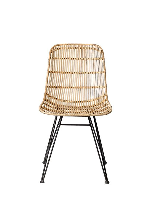 lend a breezy touch to the dining room or kitchen seating ensemble with this chic side chair showcasing a braided rattan design