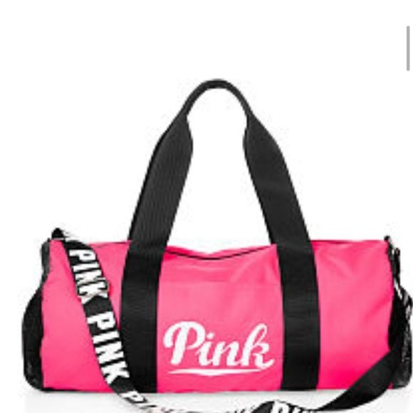 Pink Victoria Secret duffle bag 12 x 22 . Adjustable straps . Mesh pocket . Sold out on web site. NWT PINK Victoria's Secret Accessories