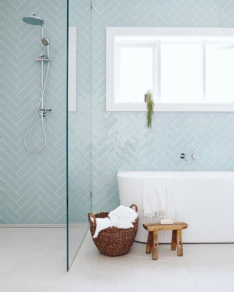 Bathroom With Blue Herringbone Wall Google Search Bathroom Tile Inspiration Modern Bathroom Tile Bathroom Interior Design