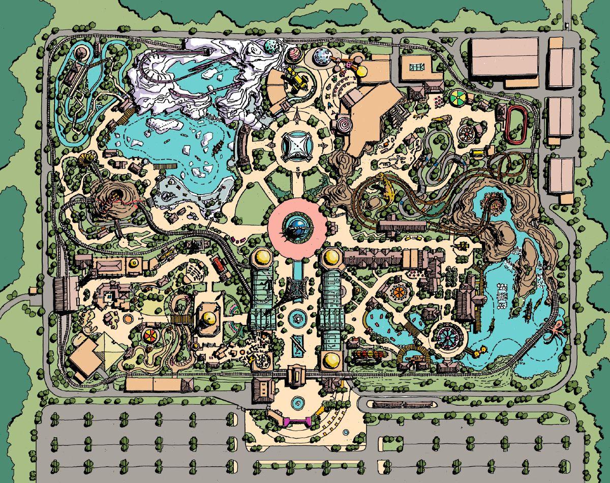Jules Verne Park Master Plan Color 7462266598 K Jpg Theme Park Planning Amusement Park Plan Theme Park
