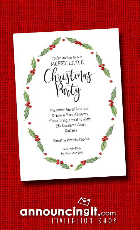 Oval Holly  Berries Holiday Party Invitations in 2018 Christmas