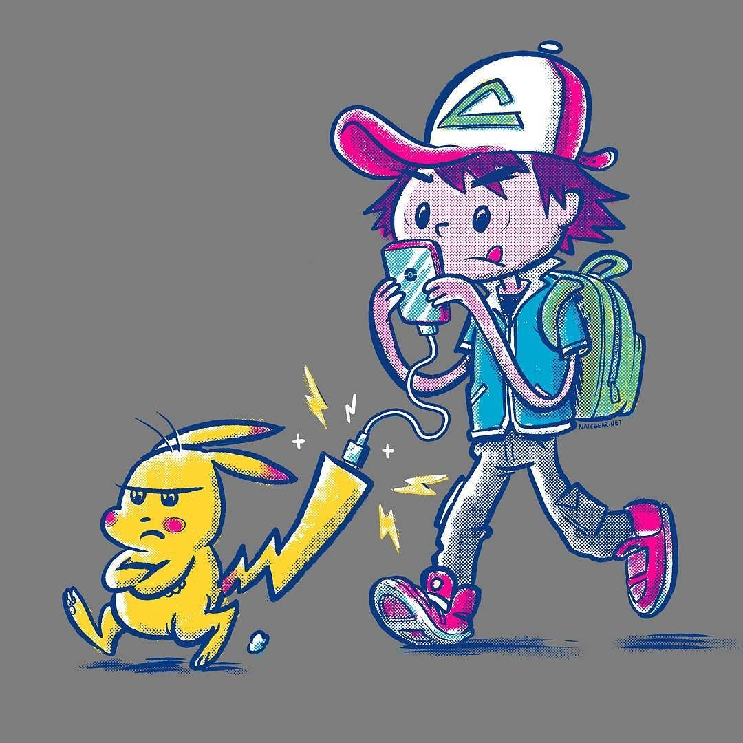 Pika-CHAAAARRRGE!! These days most trainers need to carry around a battery  but not this one... . .  http://n8br.us/pika-charge #pokemongo #pikachu #pokemon #catchemall #drawing #gottacatchemall  #illustration #yep July 24 2016 at 11:39AM