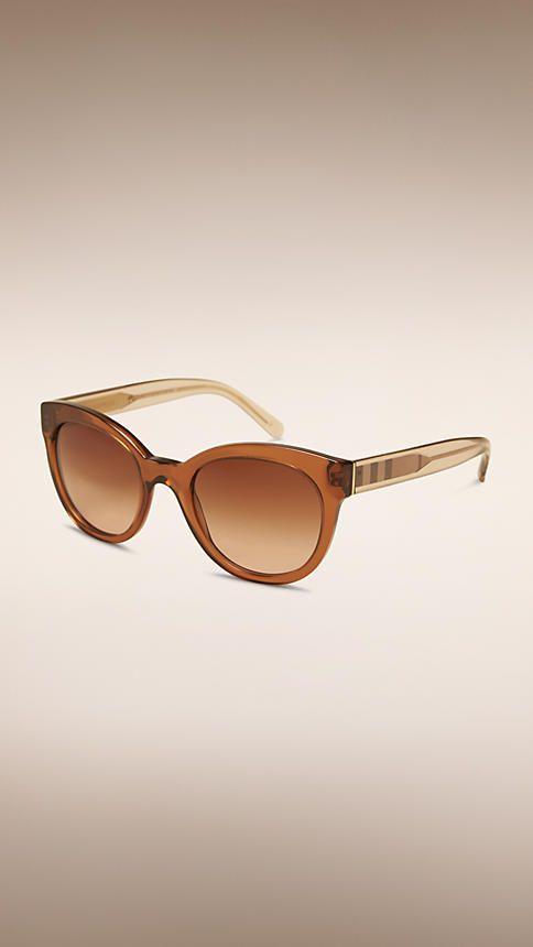 1fe7a2ea312e1 Taupe brown Check Detail Oval Frame Sunglasses - Image 1 Óculos De Sol  Feminino, Jaqueta