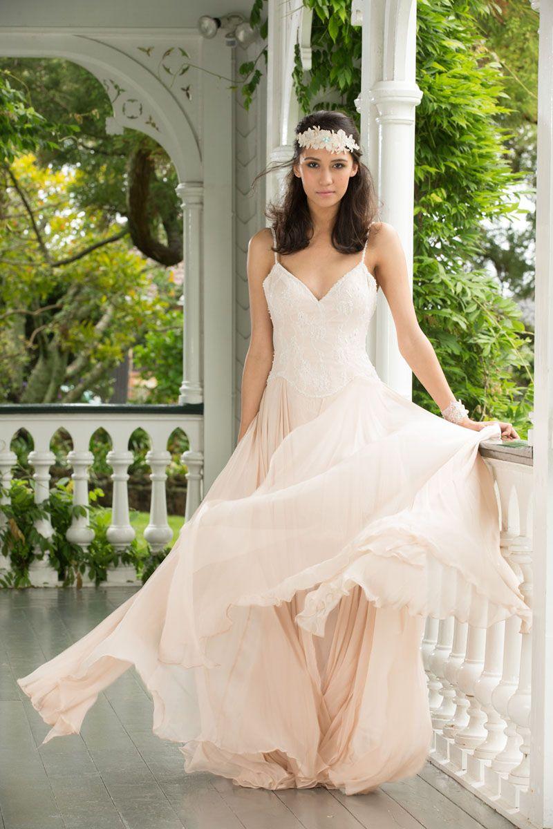 Romantic Blush Lace And Chiffon Informal Wedding Dress With Spaghetti Straps
