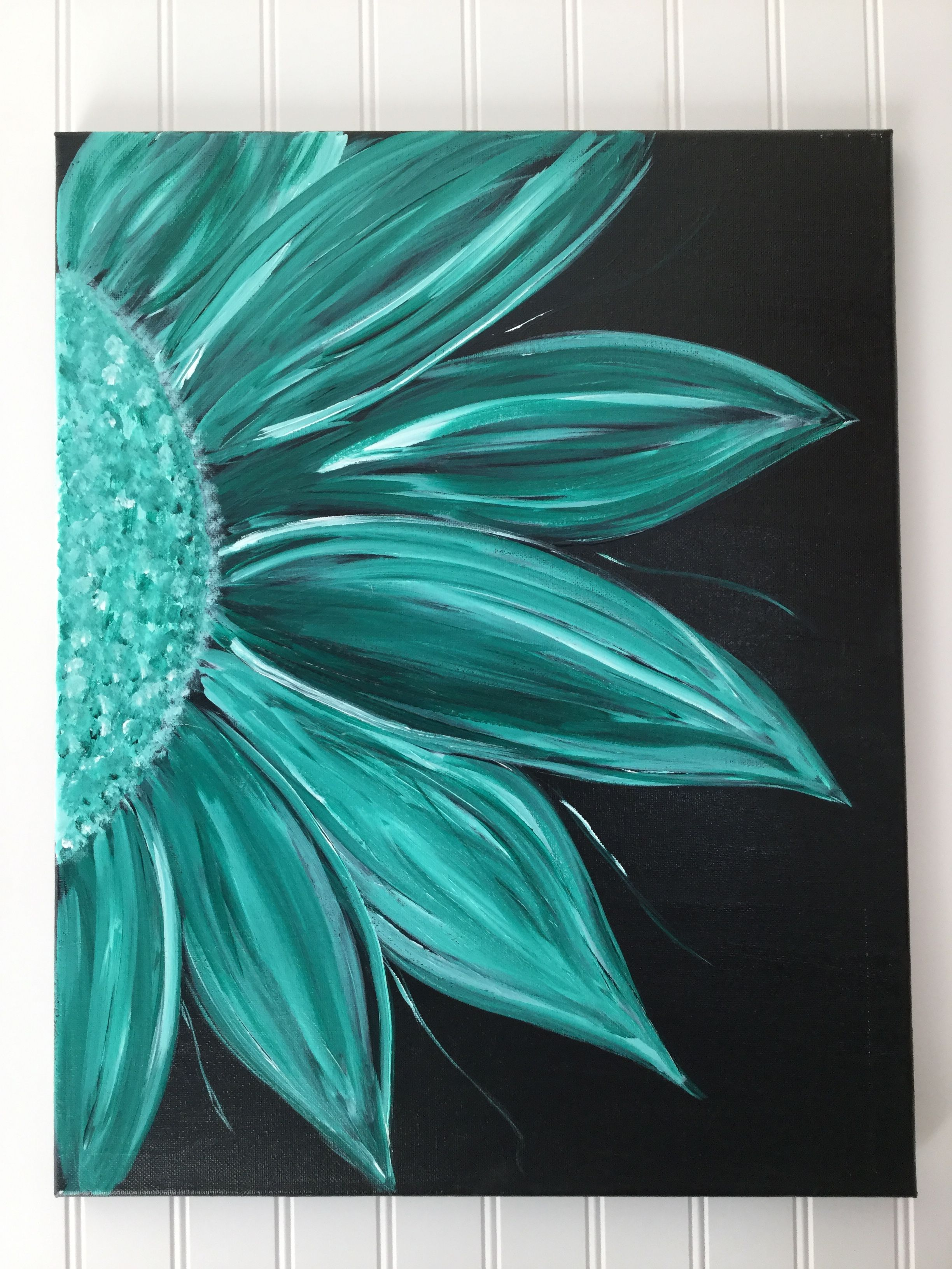 Acrylic Flower Painting On Black Background Black Canvas Paintings Simple Acrylic Paintings Black Background Painting