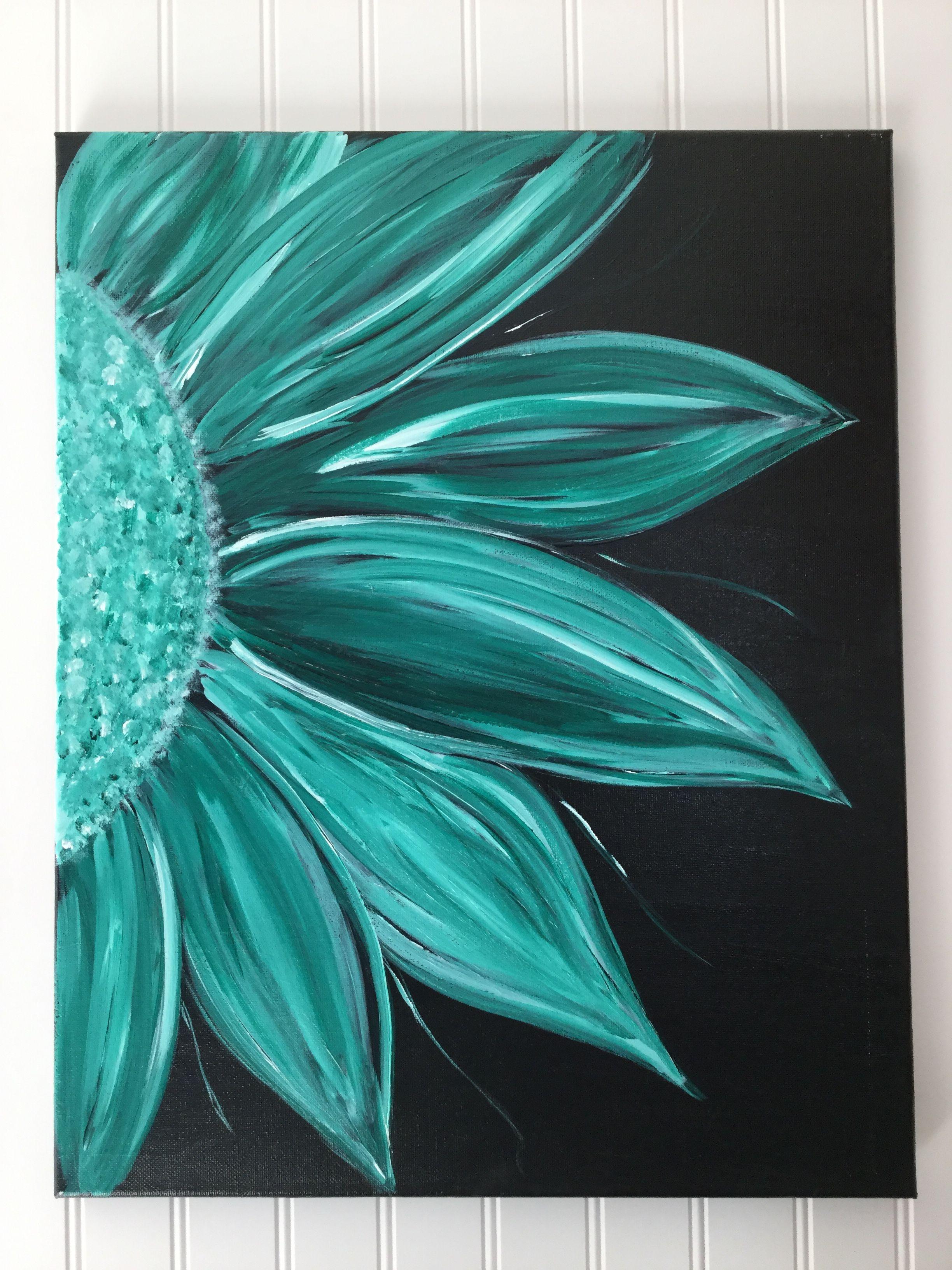 Acrylic Flower Painting On Black Background Simple Acrylic