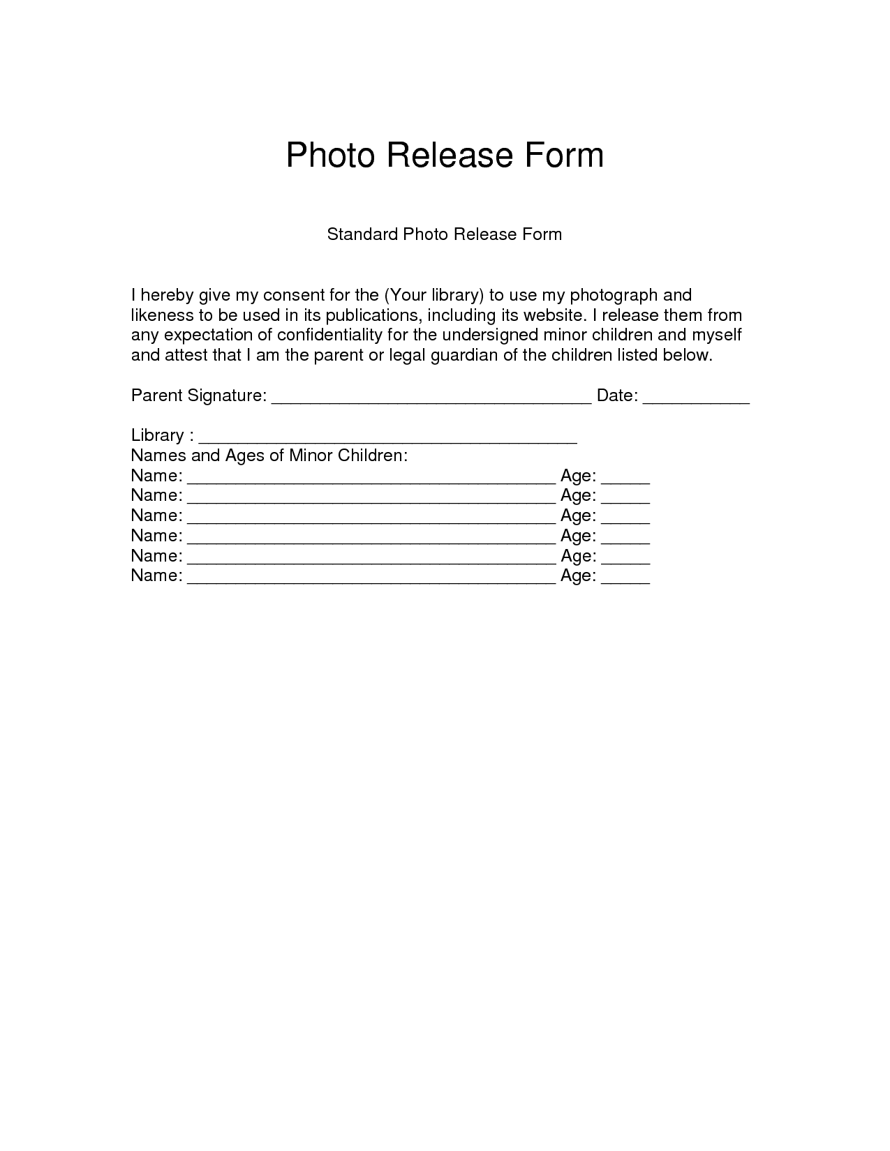 Free Photographer Release Form  Photo Release Form  Download As