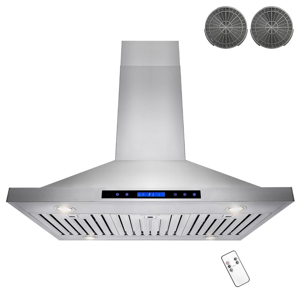 Akdy 36 In Convertible Island Mount Range Hood In Stainless Steel With Led Lights Touch Control Panel And Carbon Filters Rh0466 The Home Depot Island Range Hood Stainless Steel Range Hood