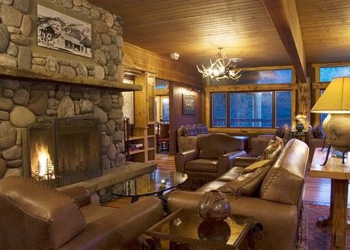 Cosy Rustic Ski Lodge Style Living Room With Windows