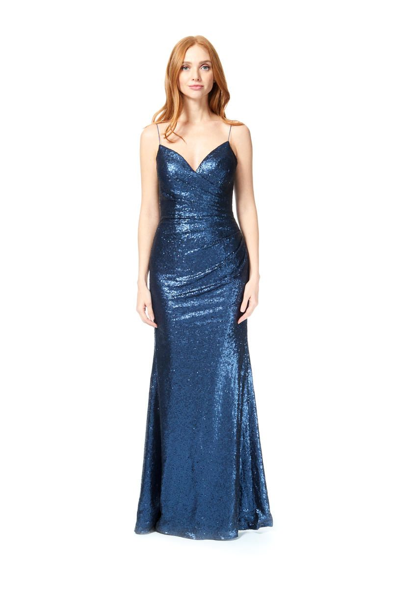 572243ffc1602 Style 1878 from Bari Jay is a slim fit Sequin bridesmaid dress that has  soft pleats on the V neck bodice, a full length slim A-line skirt with  center back ...