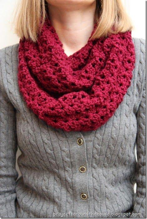 Crochet Double V Stitch Quick Infinity Scarf | Free pattern ...