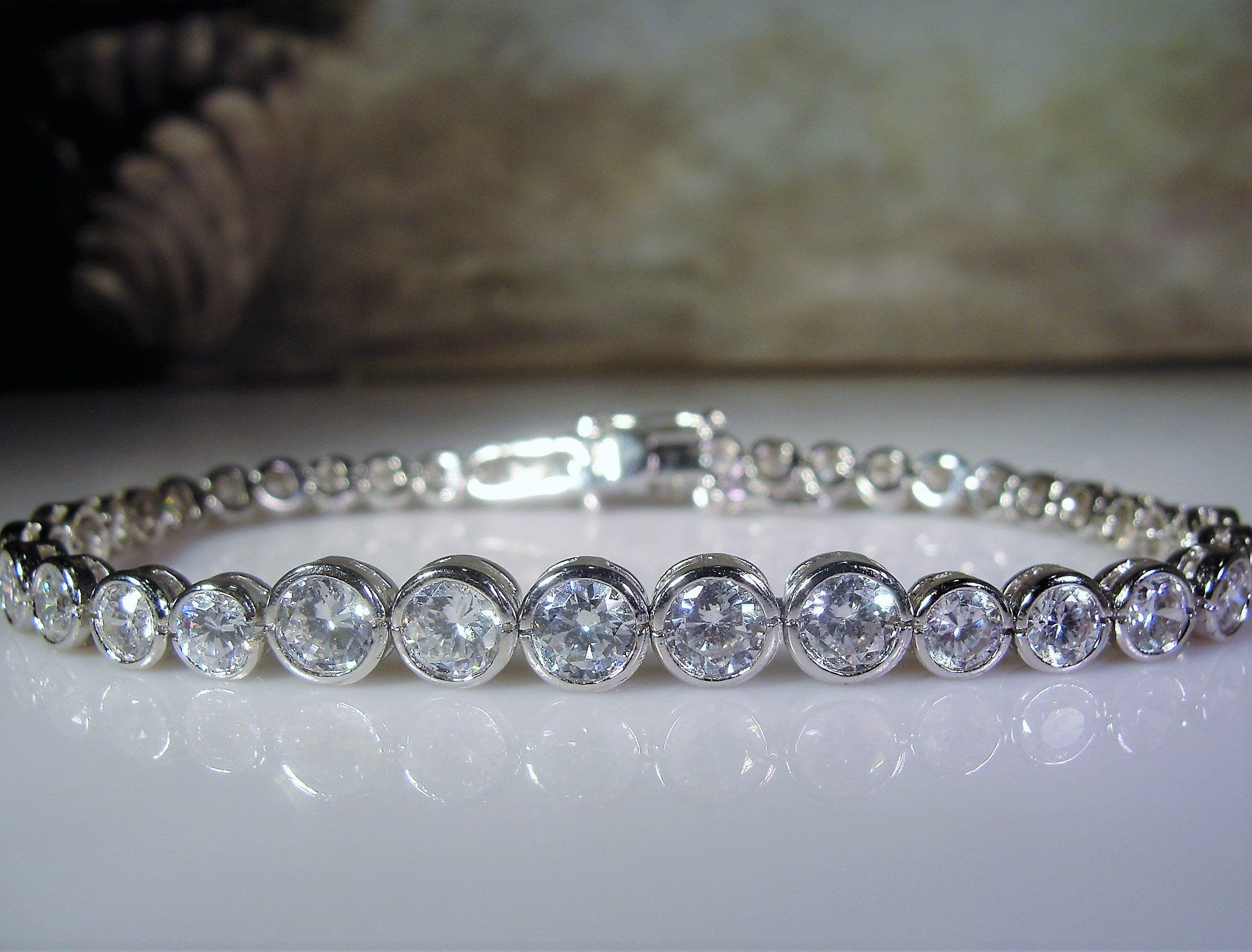 Classic Channel Set Square CZ Bridal Tennis Bracelet For Women Classic Style 925 Sterling Silver 7.5 Inch Safety Clasp