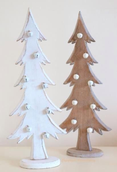 Christmas Tree Decorations   Wooden Christmas Trees   Shabby Distressed  Style In White Natural Wood With Tiny Bell Baubles Pair Set Of 2 Wooden