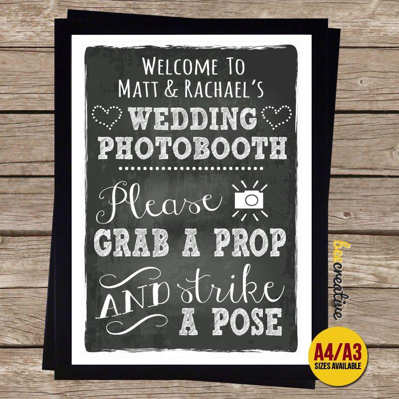 GRAB PROP STRIKE POSE Photo Booth Wedding Chalkboard SIGN PhotoBooth