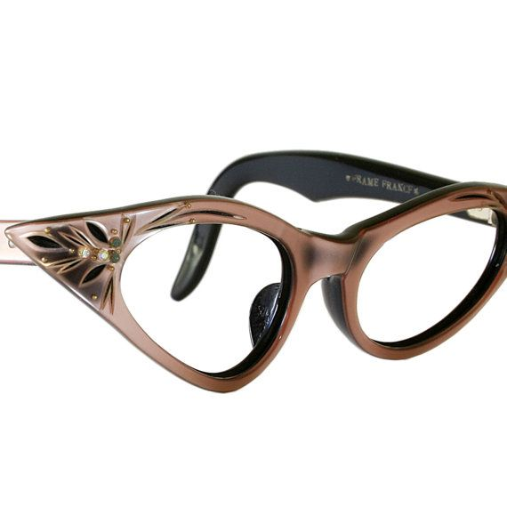 4b30565223 Pink and Black Cat Eye Glasses by Frame France.  88.00