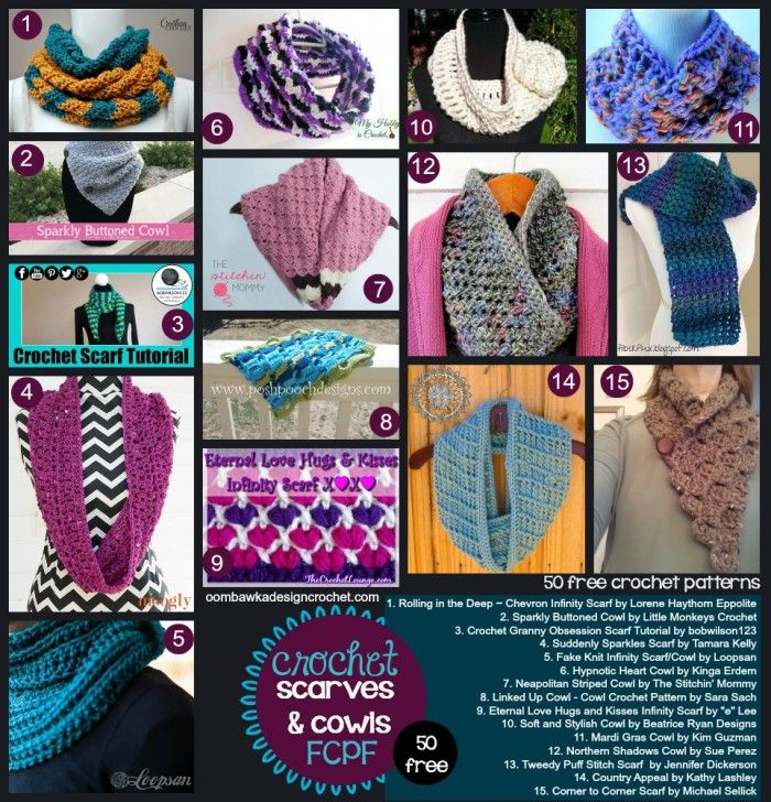 50 Free Patterns - Scarves and Cowls | Blusas lindas, Estola y Ganchillo