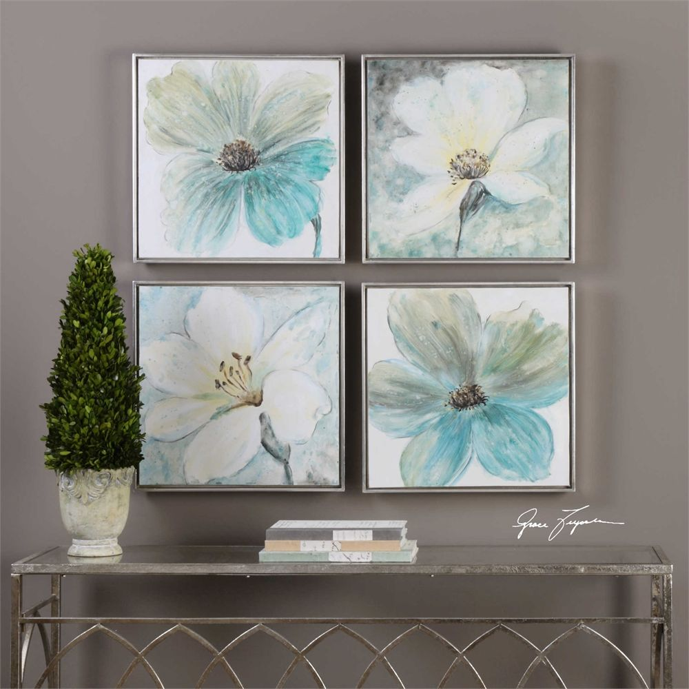 Uttermost Florals In Cream and Teal Framed Art S/4 | Para el hogar ...