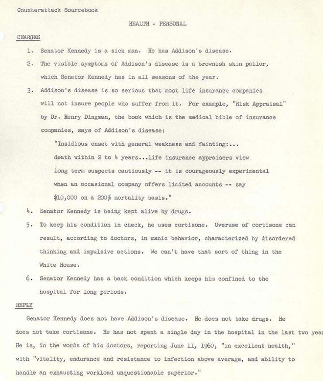 JFK 1960 Election Nixon Opposition Research Sample Page 2 All