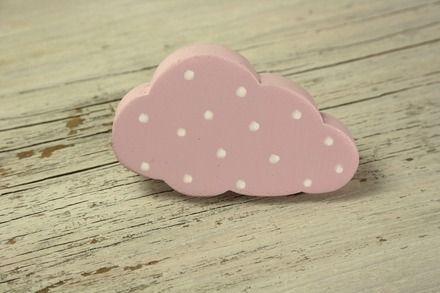 Furniture cloud button pink with white polka dots, drawer knob - meuble en bois repeint