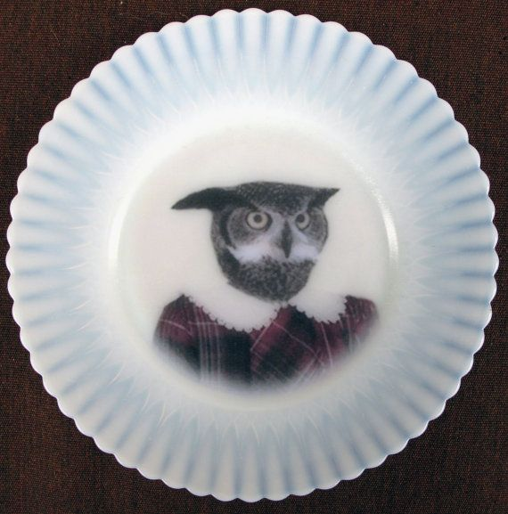 Mary, 5th grade - Altered Vintage Milkglass plate