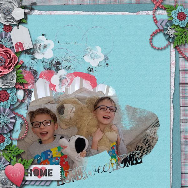 Home Sweet Home - digital scrapbook layout I created using Take Me Home Grab Bag by Mandy King at Gingerscraps, template by Kristmess Designs. I love the soft colors, the great flowers and lovely papers in this grab bag. http://store.gingerscraps.net/Take-Me-Home-grab-bag.html