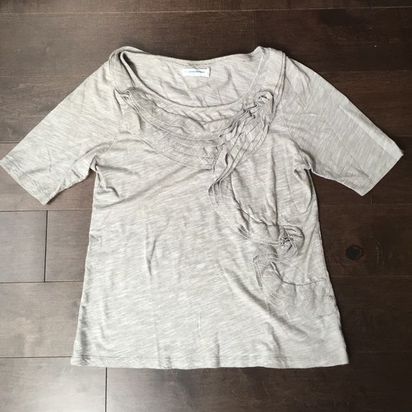"""[SALE]Pilcro/Anthro top (see below for fit/size) Pretty tan striped top with pretty ruffle detail. Measures 17"""" across bust lying down and 23"""" shoulder to hem. Size label is Large, but fit is more like Small or Medium. Anthropologie Tops"""