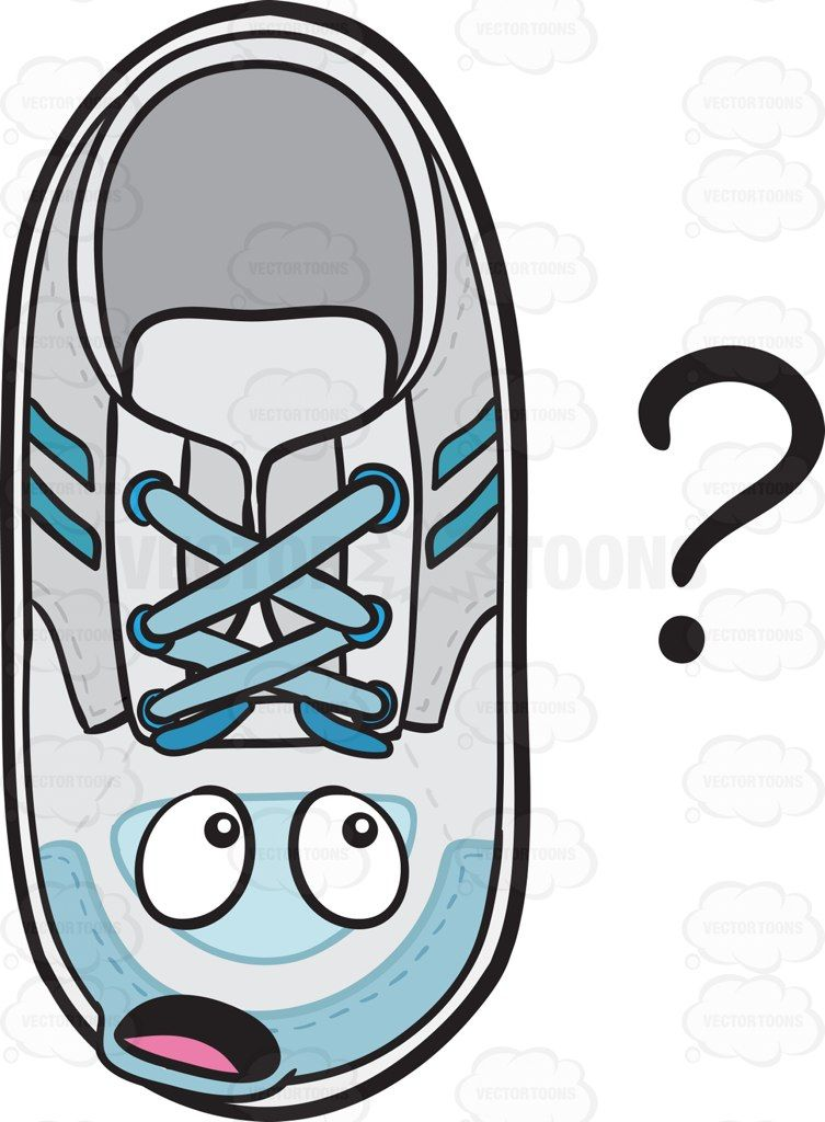 Clueless Sneakers Staring At Question Mark Emoji Cartoon Clipart - Vector  Toons