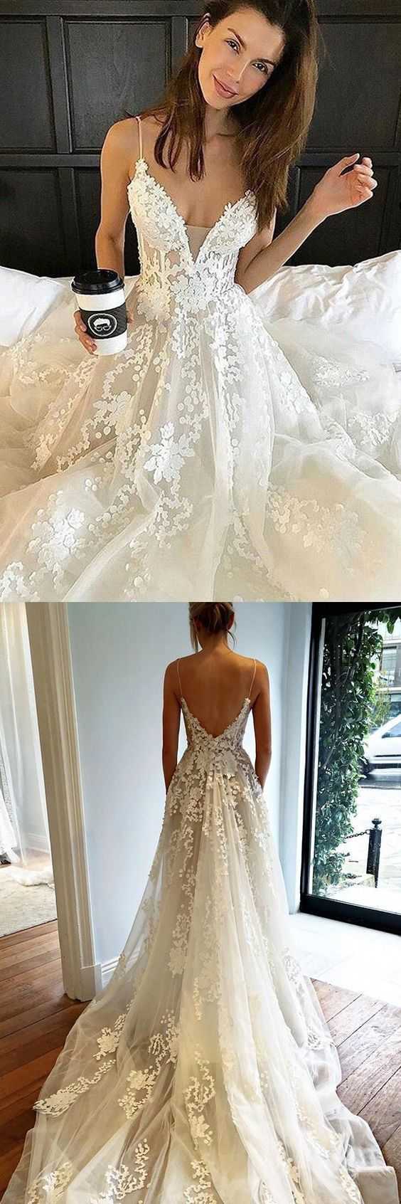 Aline spaghetti straps chapel train backless ivory tulle weeding