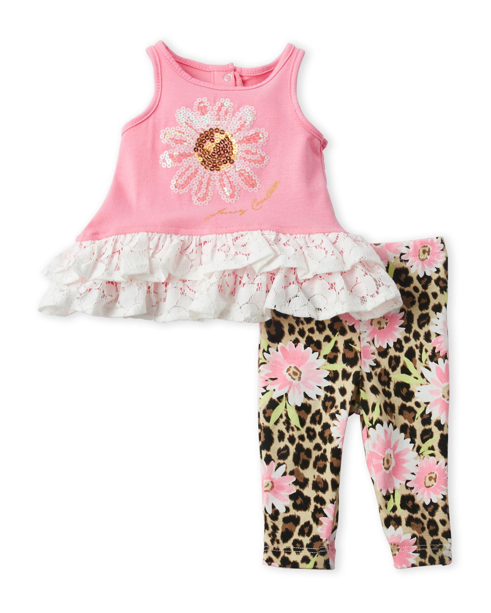 Juicy Couture (Newborn Girls) Sequin Flower Tunic & Printed Leggings Set