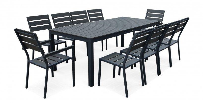 Table De Jardin 8 Chaises Et 2 Fauteuils En Bois Composite Et Aluminium Table De Jardin Salon De Jardin Aluminium Chaise Salon De Jardin