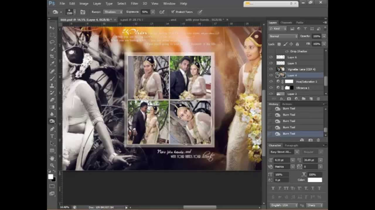 How to design wedding album page 1 using adobe photoshop cs6 hd adobe photoshop baditri Gallery