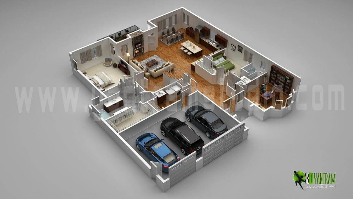 Floor plan for 3d modern home with parking slotvietnam