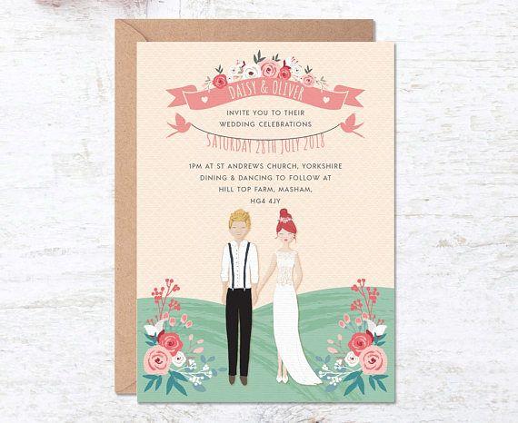 Portrait Wedding Invitation Custom Couple Invitations Wedding
