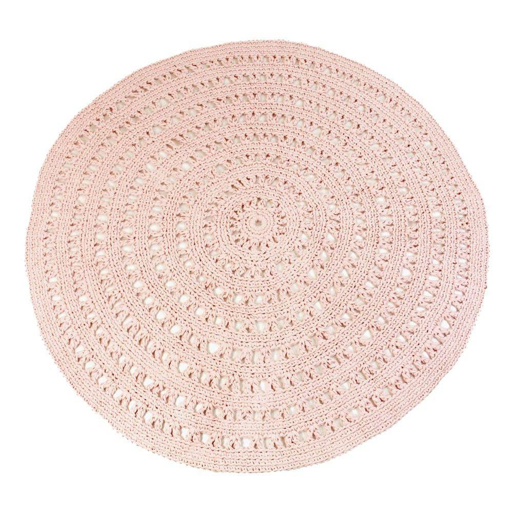 Tapis Rond Crochet Rose Poudre Crochet Crochet Rug Crochet Rose