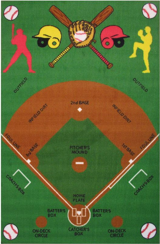 Fun Rugs Ft 122 3958 Fun Time Collection Baseball Field Multi Color Cool Rugs Baseball Field Baseball Room