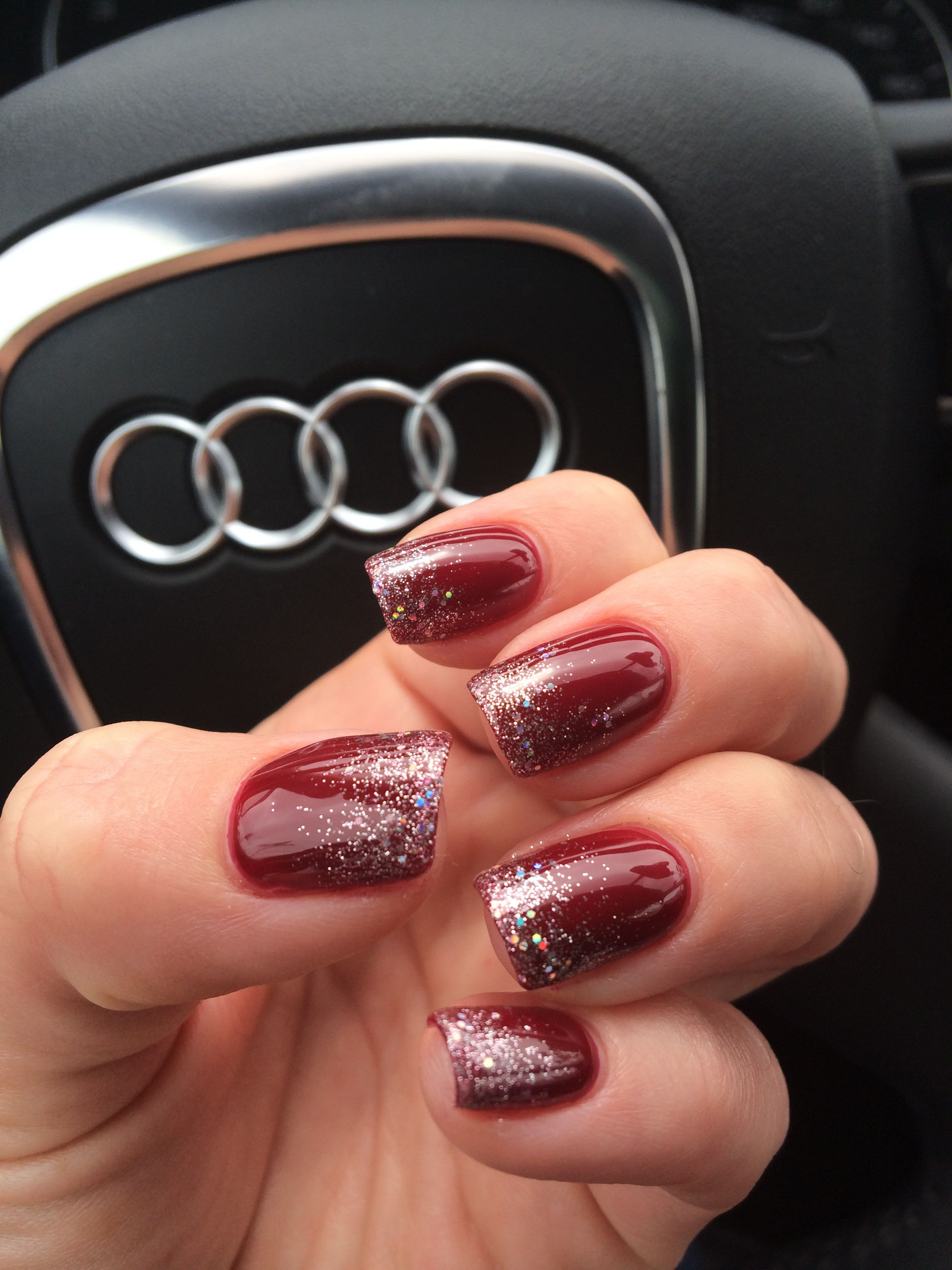 Dipped In Glitter A Subtle Silver Sparkle Ombre Over Burgundy Nails Christmas Nails Glitter Burgundy Nails Dipped Nails