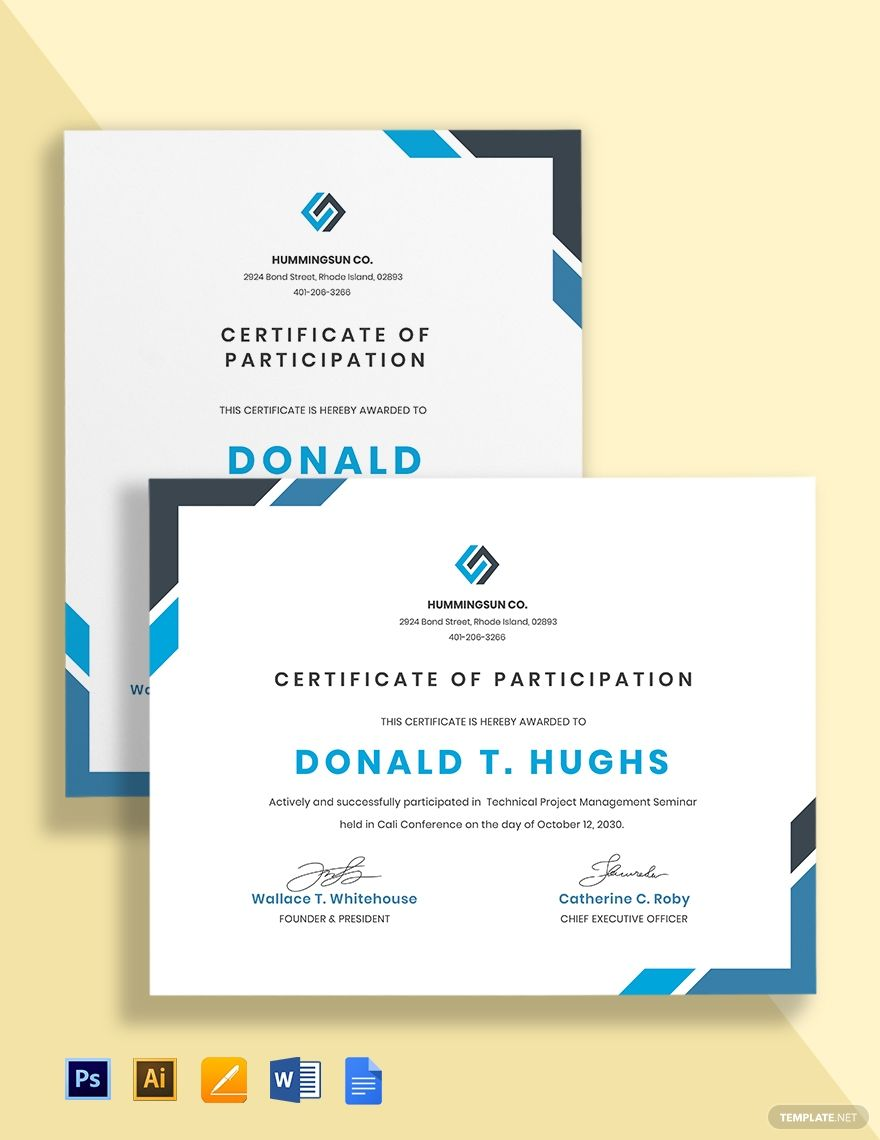It Participation Certificate Template Word Doc Psd Apple Mac Pages Google Docs Illustrator Word Doc Document Templates Certificate Templates