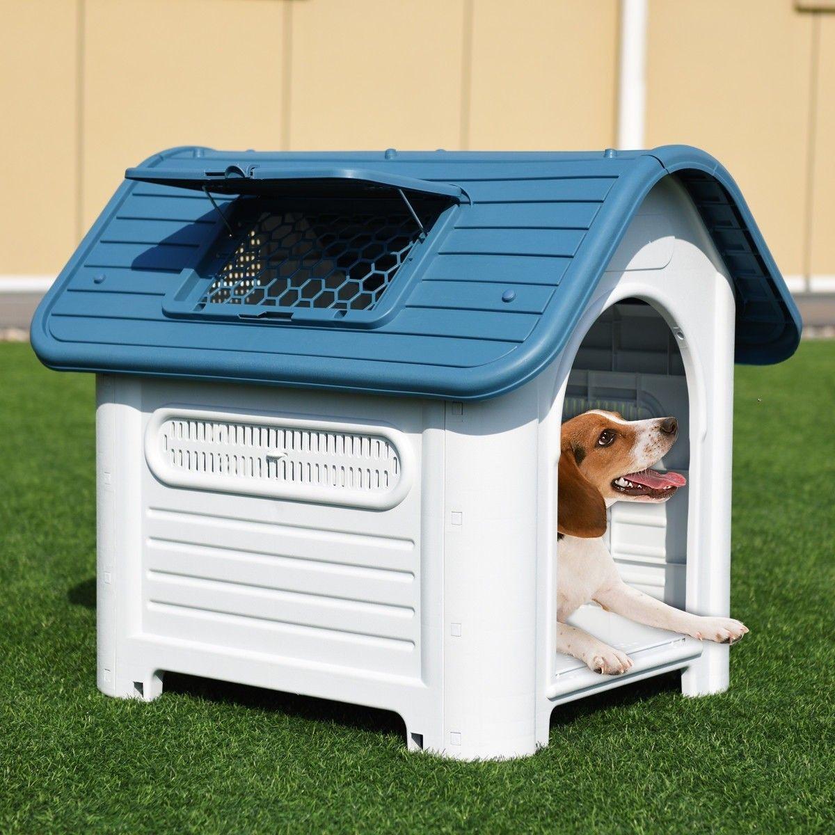 Plastic Pet Dog House Puppy Shelter W Skylight In 2020 Plastic Dog House Indoor Dog House Dog House