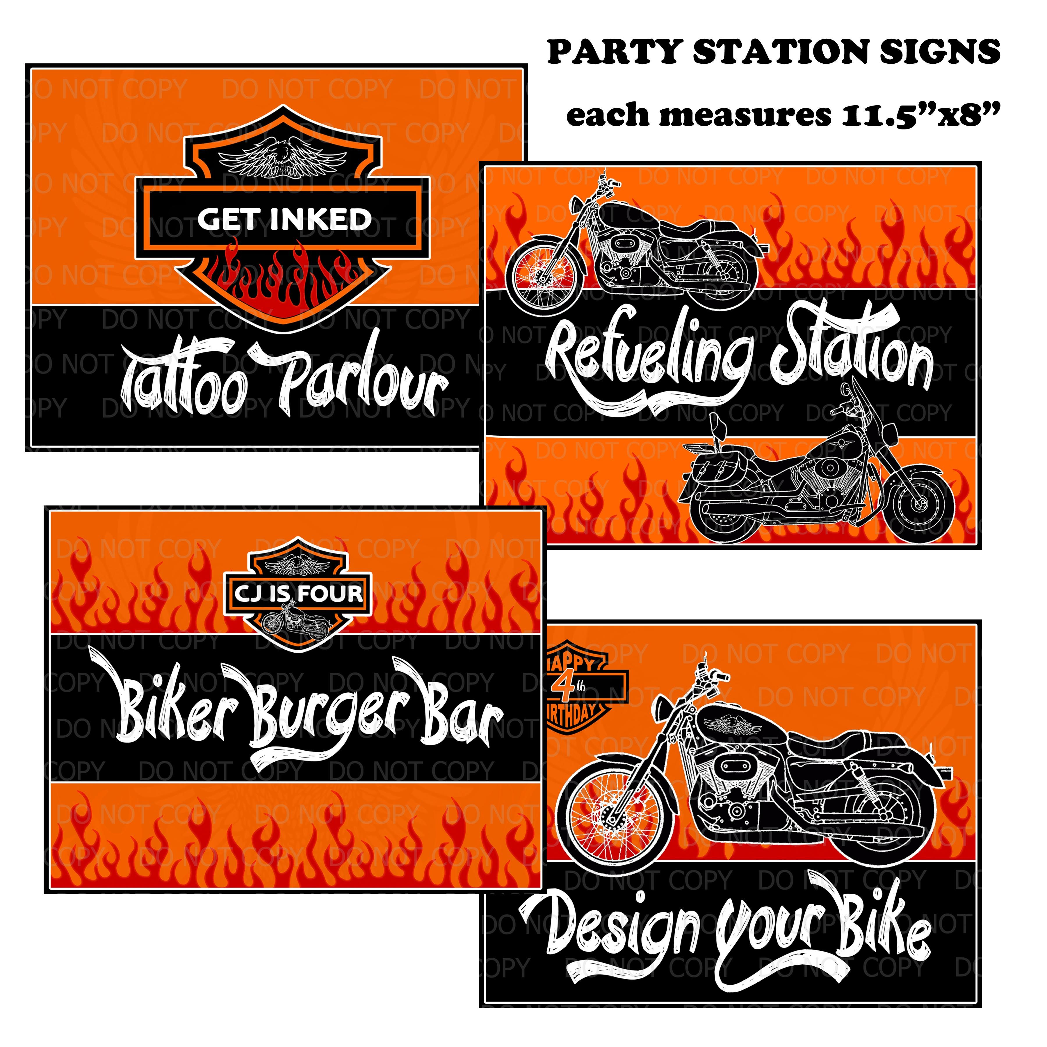 Harley Davidson Birthday Party station signs | Harley party | Pinterest
