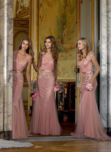 New 2017 Bridesmaid Dresses Blush Pink Tulle Deep V Neck Bling ...