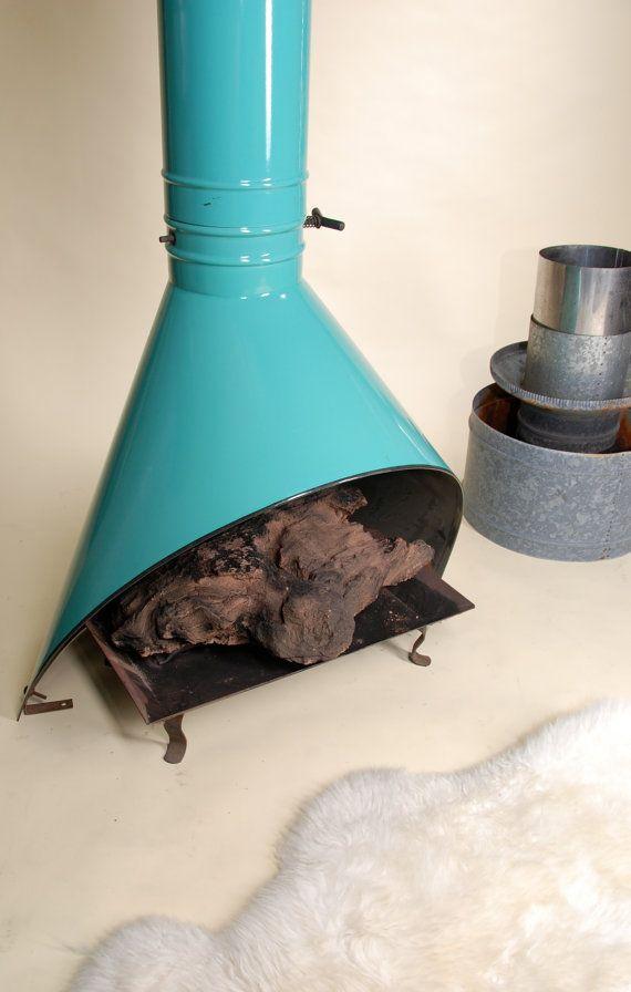 Mid Century Aqua Enamel Freestanding Fireplace by MotleyLA on Etsy ...