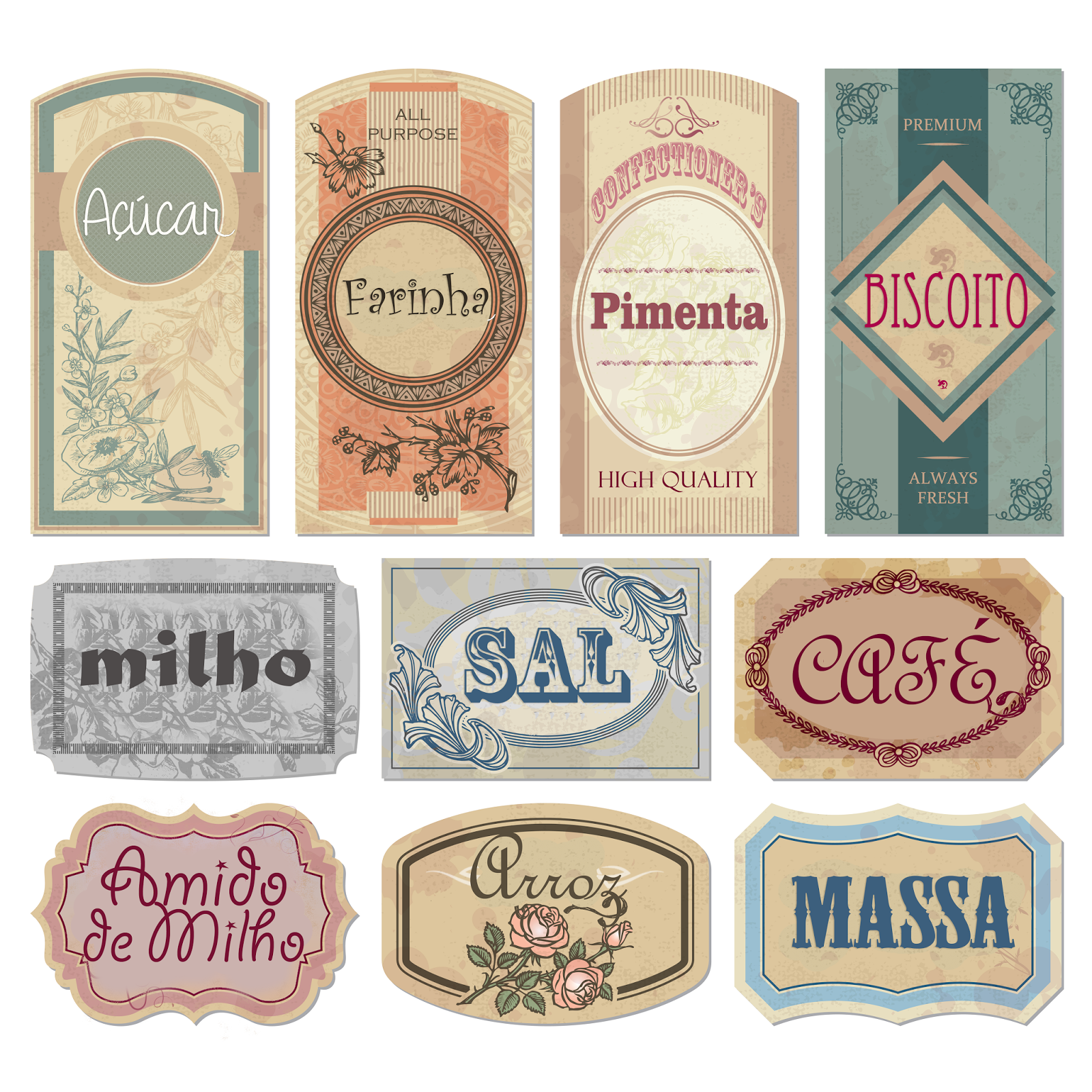 Vintage Kitchen Labels Printable