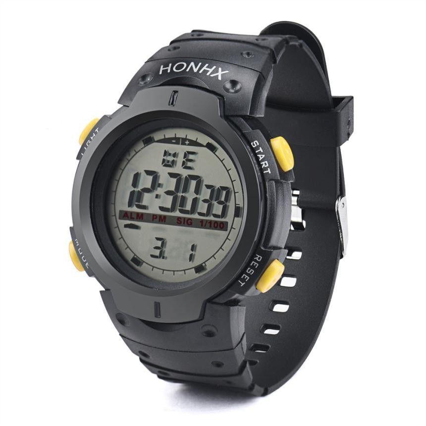 2016 Men's watch Sport Wrist WatchOutdoor Waterproof Men's LED Digital Stopwatch Date Rubber