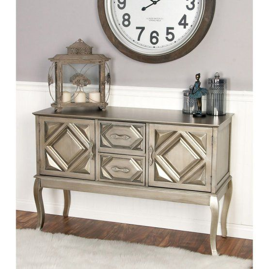 Decmode 48 In Wood Console Cabinet Gray Console Table Wood