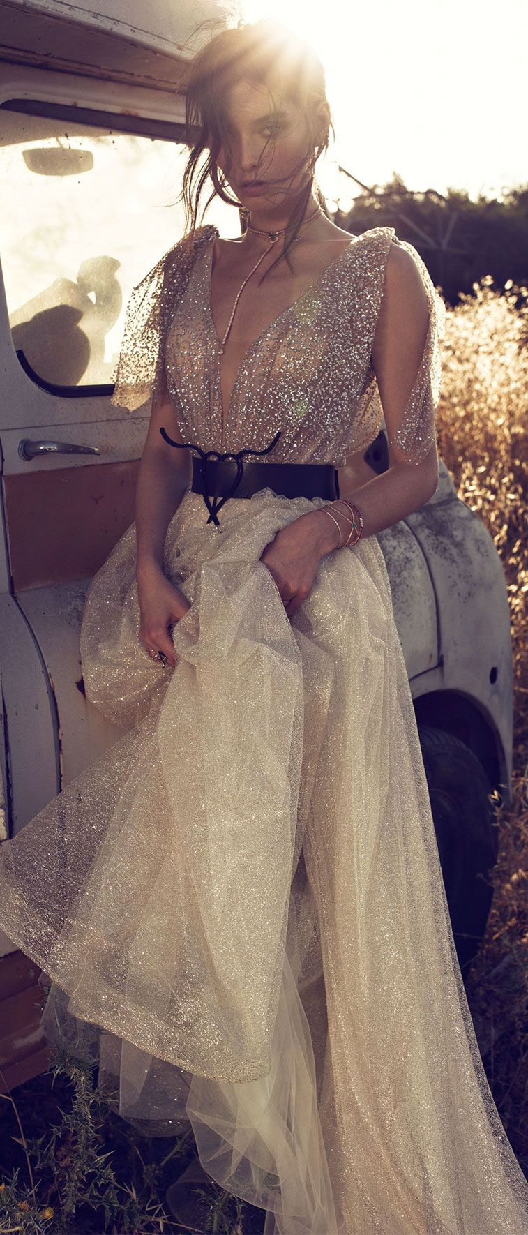 heavy sparkles dark gold bodysuit, detachable shoulders straps hand pleated design on front and back nude color , illusion net on middle plunge light gold tone wedding gown #wedding #wedding #weddingdress #weddinggown