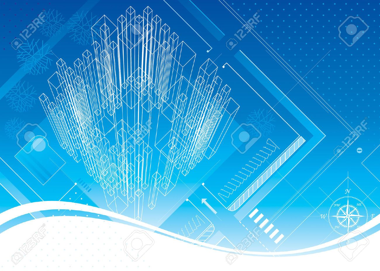 Abstract Architecture Blueprint Design Vector Layered