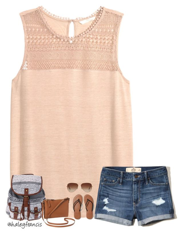 Today was our last day of school!! by haleyfrancis on Polyvore featuring Abercrombie & Fitch, Old Navy, Rayban and Hollister Co.
