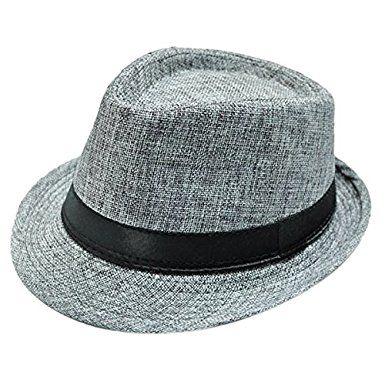 1d2c71ac494261 Samtree Fedora Hats for Women Men,Vintage Braid Short Brim Jazz Cap(Light  Blue)