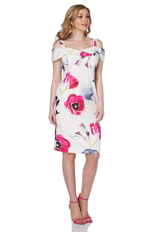 3bab8324 Roman Originals Women's Cold Shoulder Floral Dress: Amazon.co.uk: Clothing